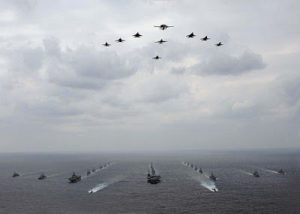 081119-N-7047S-140 PACIFIC OCEAN (Nov. 19, 2008) U.S. Navy and Japanese Air Self-Defense Force aircraft fly in formation over U.S. Navy and Japan Maritime Self-Defense Force ships during a photo exercise at the culmination of ANNUALEX 2008. ANNUALEX is a bilateral exercise between the U.S. Navy and the Japanese Maritime Self-Defense Force. (U.S. Navy photo by Mass Communication Specialist 3rd Class Ian R. Schoeneberg/Released)